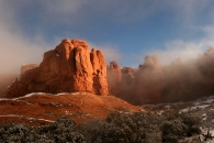 Retreating Fog in Arches National Monument, Utah